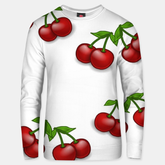 Miniatur Red cherries on white Unisex sweater, Live Heroes
