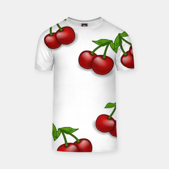 Miniatur Red cherries on white T-shirt, Live Heroes