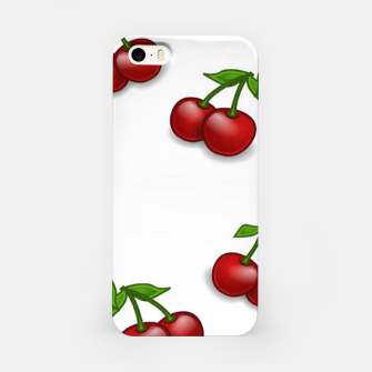 Miniatur Red cherries on white iPhone Case, Live Heroes