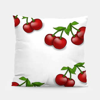 Miniatur Red cherries on white Pillow, Live Heroes