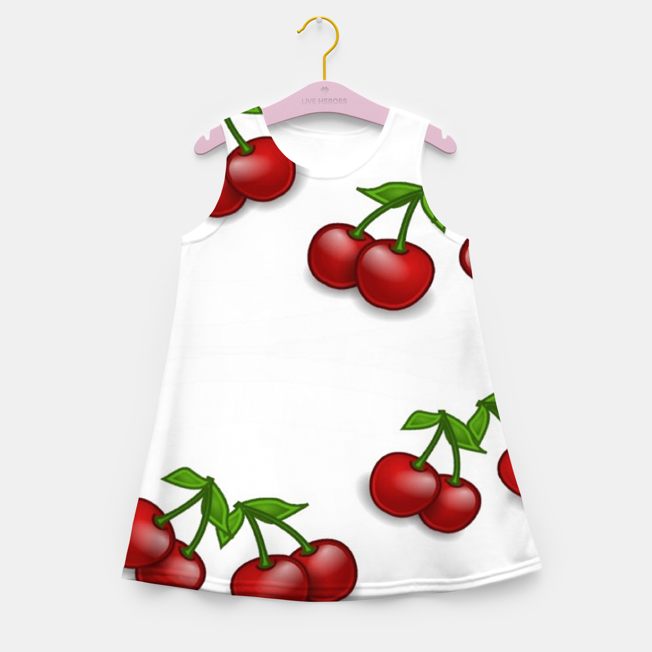 Image of Red cherries on white Girl's summer dress - Live Heroes