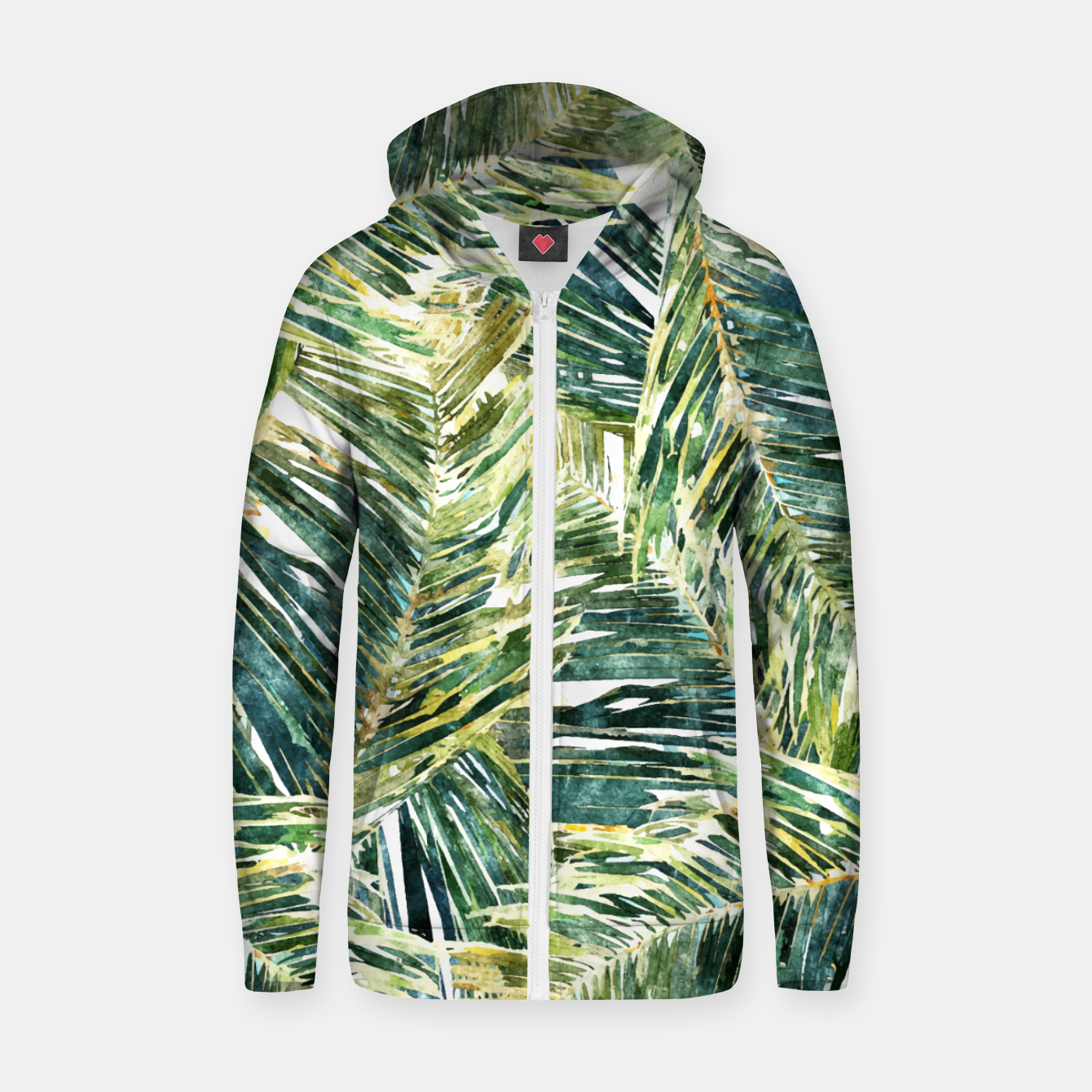 Image of Classic Palm  Zip up hoodie - Live Heroes