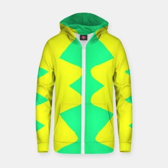 Yellow and green zigzag Zip up hoodie thumbnail image
