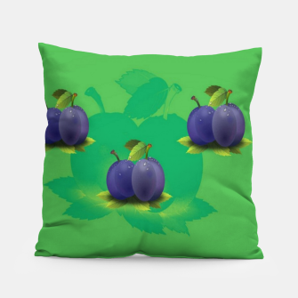 Plums on green Pillow thumbnail image