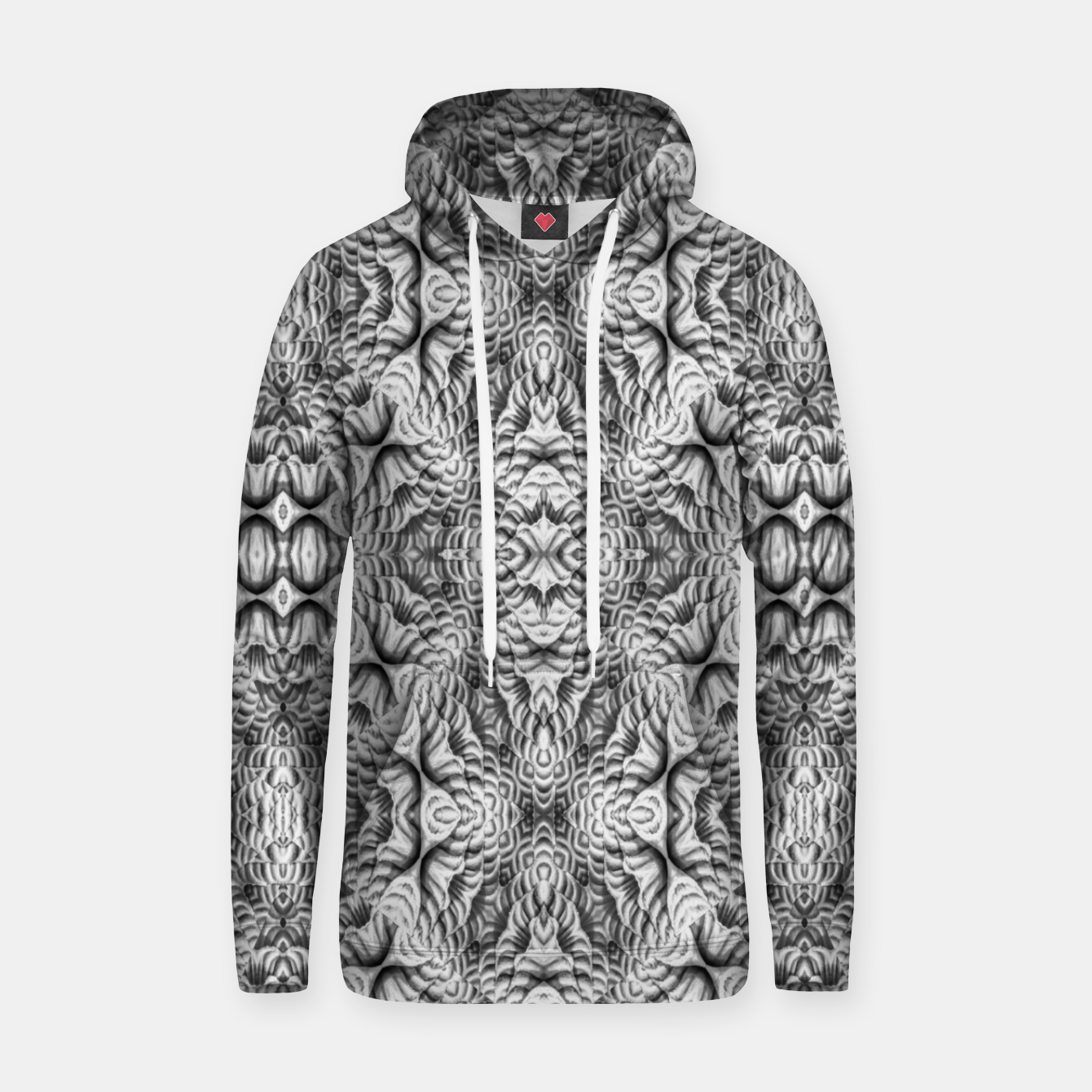Image of Black and White Ornate Pattern Hoodie - Live Heroes