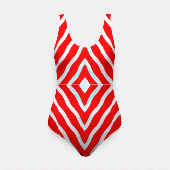 Miniatur Red and white diamond shapes Swimsuit, Live Heroes