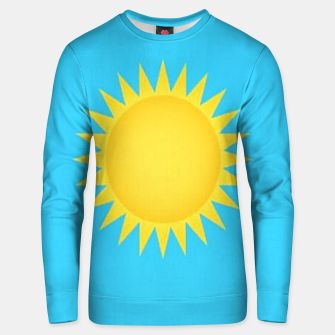 Thumbnail image of Yellow sun on blue Unisex sweater, Live Heroes