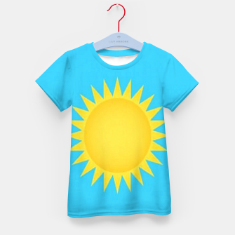 Thumbnail image of Yellow sun on blue Kid's t-shirt, Live Heroes