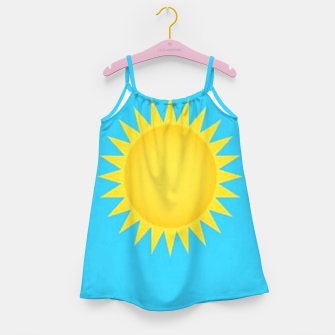 Thumbnail image of Yellow sun on blue Girl's dress, Live Heroes