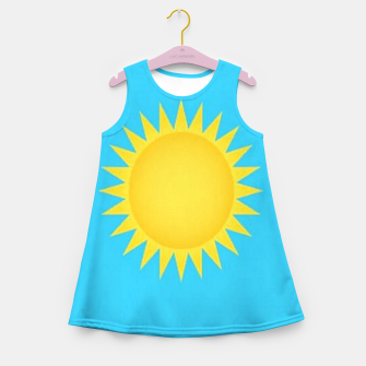 Thumbnail image of Yellow sun on blue Girl's summer dress, Live Heroes