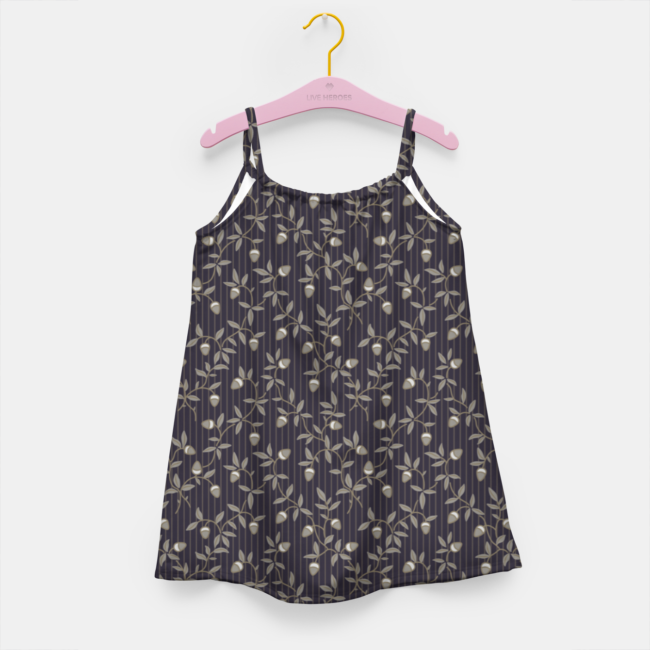 Image of Ornate hazel branches in grey Girl's dress - Live Heroes
