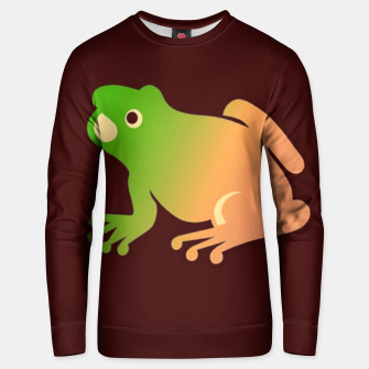 Thumbnail image of Gradient frog on brown Unisex sweater, Live Heroes