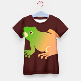 Thumbnail image of Gradient frog on brown Kid's t-shirt, Live Heroes
