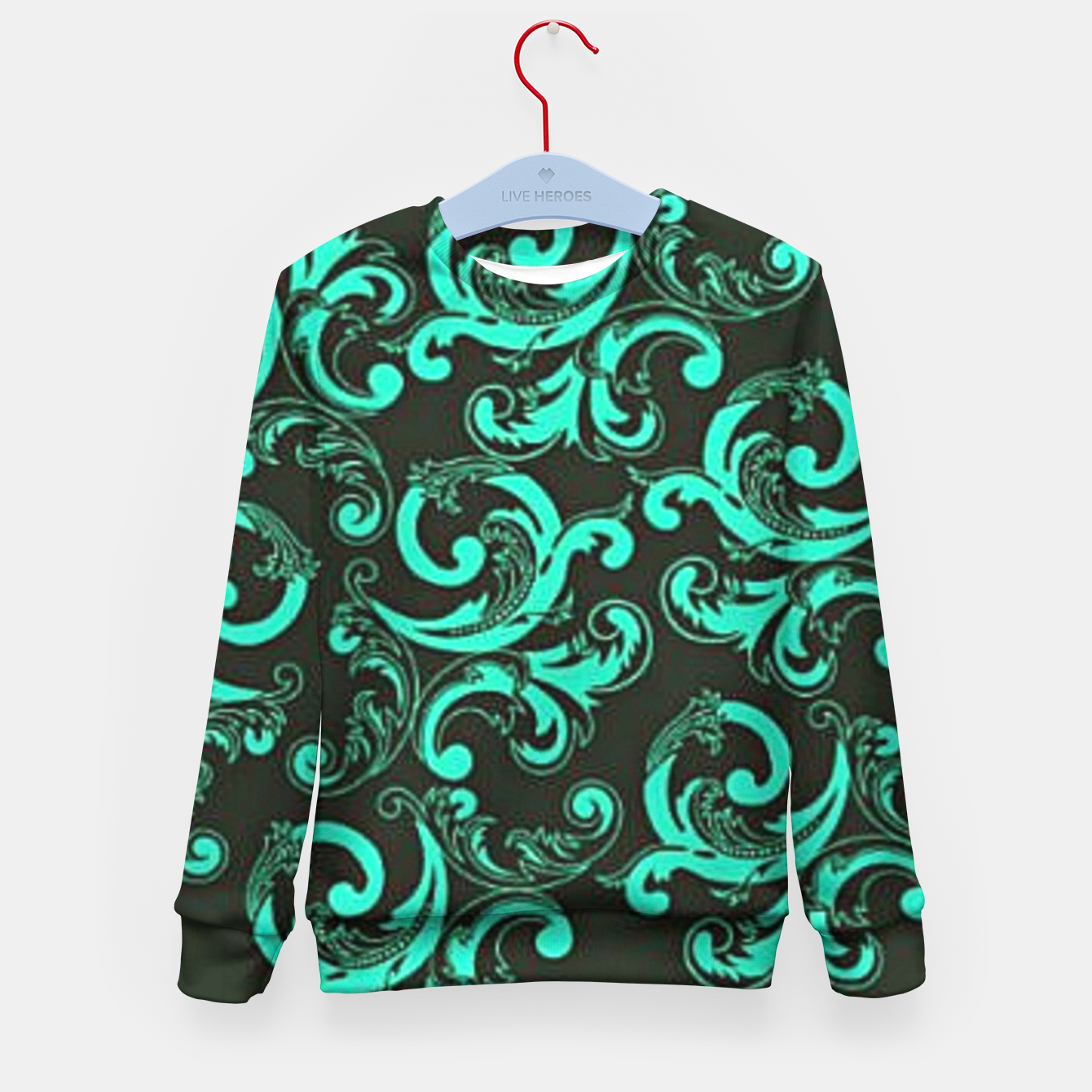 Image of Blue decorative damask Kid's sweater - Live Heroes