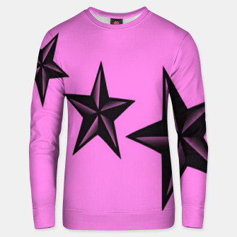 Thumbnail image of Black stars on pink Unisex sweater, Live Heroes