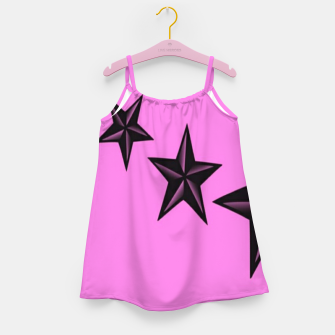 Thumbnail image of Black stars on pink Girl's dress, Live Heroes