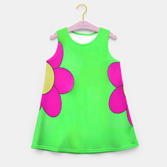 Thumbnail image of Pink flowers on green Girl's summer dress, Live Heroes
