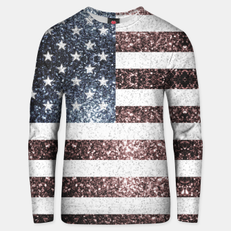 Thumbnail image of Rustic Red White Blue Sparkles USA flag Unisex sweater, Live Heroes
