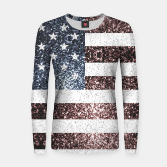 Thumbnail image of Rustic Red White Blue Sparkles USA flag Women sweater, Live Heroes