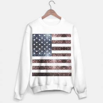 Thumbnail image of Rustic Red White Blue Sparkles USA flag Sweater regular, Live Heroes