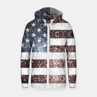 Miniatur Rustic Red White Blue Sparkles USA flag Zip up hoodie, Live Heroes