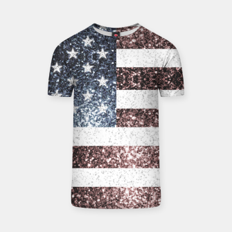 Thumbnail image of Rustic Red White Blue Sparkles USA flag T-shirt, Live Heroes