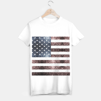 Thumbnail image of Rustic Red White Blue Sparkles USA flag T-shirt regular, Live Heroes