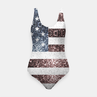 Thumbnail image of Rustic Red White Blue Sparkles USA flag Swimsuit, Live Heroes