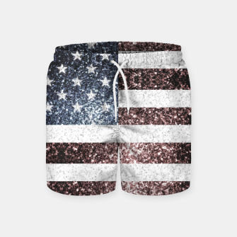 Thumbnail image of Rustic Red White Blue Sparkles USA flag Swim Shorts, Live Heroes