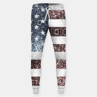 Thumbnail image of Rustic Red White Blue Sparkles USA flag Sweatpants, Live Heroes