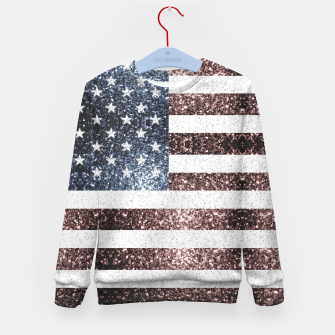 Thumbnail image of Rustic Red White Blue Sparkles USA flag Kid's sweater, Live Heroes