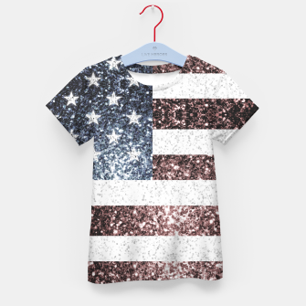 Thumbnail image of Rustic Red White Blue Sparkles USA flag Kid's t-shirt, Live Heroes