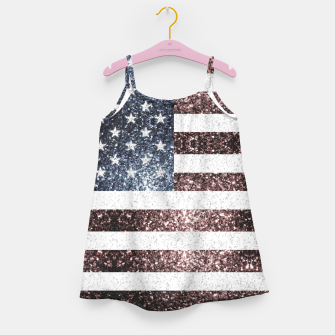 Thumbnail image of Rustic Red White Blue Sparkles USA flag Girl's dress, Live Heroes
