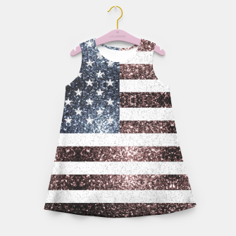 Thumbnail image of Rustic Red White Blue Sparkles USA flag Girl's summer dress, Live Heroes