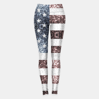Thumbnail image of Rustic Red White Blue Sparkles USA flag Leggings, Live Heroes