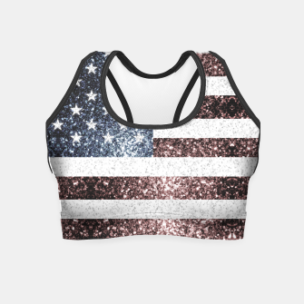Thumbnail image of Rustic Red White Blue Sparkles USA flag Crop Top, Live Heroes