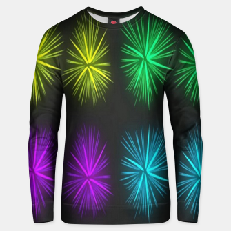Thumbnail image of Colorful fireworks on black Unisex sweater, Live Heroes