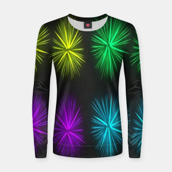 Thumbnail image of Colorful fireworks on black Women sweater, Live Heroes