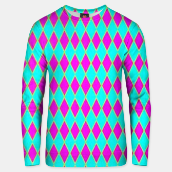 Thumbnail image of Pink diamond shapes on blue Unisex sweater, Live Heroes