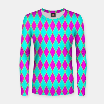 Thumbnail image of Pink diamond shapes on blue Women sweater, Live Heroes