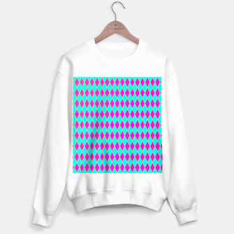 Thumbnail image of Pink diamond shapes on blue Sweater regular, Live Heroes