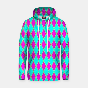 Thumbnail image of Pink diamond shapes on blue Hoodie, Live Heroes