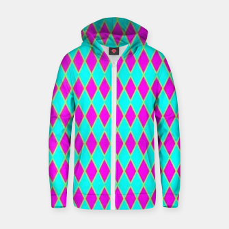 Thumbnail image of Pink diamond shapes on blue Zip up hoodie, Live Heroes