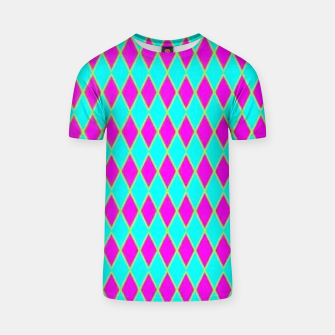 Thumbnail image of Pink diamond shapes on blue T-shirt, Live Heroes