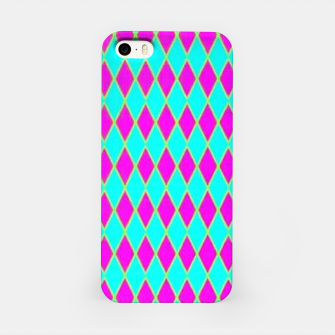 Thumbnail image of Pink diamond shapes on blue iPhone Case, Live Heroes