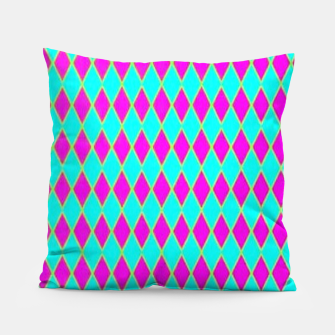 Thumbnail image of Pink diamond shapes on blue Pillow, Live Heroes