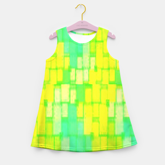 Thumbnail image of Yellow and green blocks Girl's summer dress, Live Heroes