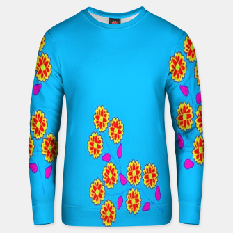 Thumbnail image of Abstract flowers on blue Unisex sweater, Live Heroes
