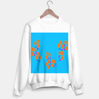Thumbnail image of Abstract flowers on blue Sweater regular, Live Heroes