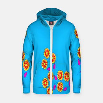 Thumbnail image of Abstract flowers on blue Zip up hoodie, Live Heroes